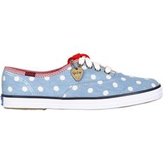 KEDS BY TAYLOR SWIFT 10mm Champion Dot Denim Sneakers ($93) found on Polyvore