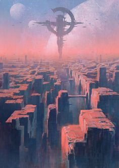 For Dark Sun, ignore the station and starships and one of the moons, it's all about the rock formations in this piece.