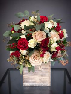Send - Tall White & Red wood box arrangement in Hallandale Beach, FL from K&K Flowers, the best florist in Hallandale Beach. All flowers are hand delivered and same day delivery may be available. Rosen Arrangements, Valentine Flower Arrangements, Valentines Flowers, Beautiful Flower Arrangements, Red Rose Arrangements, Winter Flower Arrangements, Modern Floral Arrangements, All Flowers, Colorful Flowers