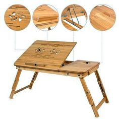 Homfa Bamboo Laptop Desk Adjustable Portable Breakfast Serving Bed Tray with Tilting Top Drawer - Nice product and looks to be quality made.This Homfa that is r Portable Laptop Table, Laptop Desk For Bed, Diy Laptop, Laptop Tray, Lap Desk, Contemporary Dining Room Sets, Desktop Design, Sectional Sofa With Recliner, Ikea Desk
