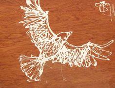 "White Bird 11x14x2"" wood panel"
