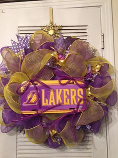 Lakers Deco Mesh Wreath $45  Deco Mesh Wreaths by Victorian Elegance: Etsy Store: Gypsy505Soul