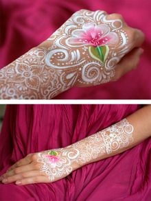 Beautiful one stroke rose and white henna look paint!