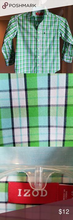 Boys plaid button down izod shirt Plaid long sleeved Izod button down shirt .like new ..no stains or rips Izod Shirts & Tops Button Down Shirts