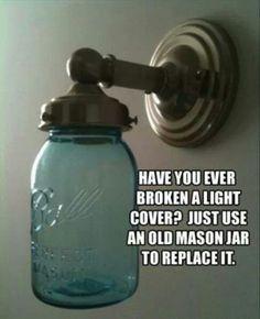 genius ideas 28 Mason Jar as light cover Do It Yourself Furniture, Do It Yourself Home, Mason Jar Crafts, Mason Jar Lamp, Genius Ideas, Amazing Ideas, Clever Tips, Mason Jar Lighting, Jar Lights