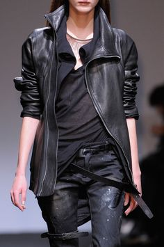 Longline leather jacket, yes! Nicolas Andreas Taralis Fall 2013 I <3 This!!!