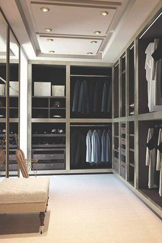 """A Man's Wardrobe. Okay so a guy probably needs half this space but I really like the classy  clean look of it. (White for """"her"""" side)"""