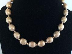 Vtg Crown Trifari Brushed Silky Gold Tone Metal Beaded 1 Strand Necklace | eBay