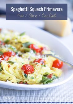 Fresh, bright flavors abound in this keto spaghetti squash primavera - a lightened up version of the traditional pasta primavera! Low carb, Atkins, Paleo