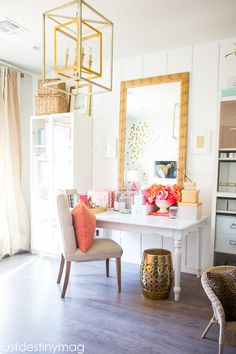 Gorgeous Coral and Gold Office