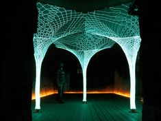 "Solar powered tree, light emitting fabric. ""SonUmbra"" by London-based design firm Loop.pH. (Moma exhibit on experiments in responsive textile architecture) Could function as light source in towns that cannot afford electricity.  Designed to react to the activity of people in the surrounding area."