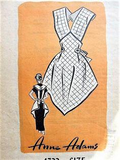 Another great Anne Adams apron pattern! 50's PRETTY Apron Pattern Kitchen Farmhouse Apron Medium Size Vintage Sewing Pattern #sewing #pattern #apron #vintage #affiliate