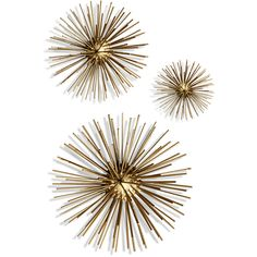 Pier 1 Imports Golden Metal Starburst Wall Décor Set Of 3 ($139) ❤ liked on Polyvore featuring home, home decor, gold, metal home decor and pier 1 imports