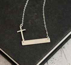 Personalized Bar Necklace Silver Bar Necklace by TheSilverWren, $30.00