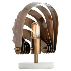 Castor Industrial Modern Brass Hood Marble Table Lamp
