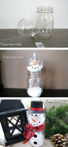 Cheap and easy DIY Christmas decor idea made out of a mason jar! This rustic snowman is the cutest thing you will ever make! Lots of mason jar ideas for Christmas, gifts, food or any DIY craft project. These would be awesome to sell at a craft fair. Pot Mason Diy, Mason Jar Crafts, Bottle Crafts, Mason Jar Snowman, Diy Snowman, Snowmen, Diy Christmas Decorations Easy, Holiday Crafts, Christmas Diy