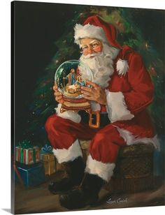 Decor for the holiday season of Santa holding a large snow globe with a baby Jesus inside.