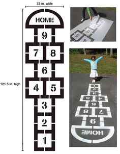 Hopscotch stencil kit - great for the playground at a local elementary school - simple to do.  My friend has used this stencil himself and was able to do it pretty easily with a couple of cans of Krylon marking spray.