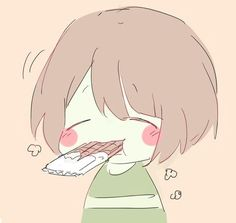 Chara eating a Chocolate Bar Comic Undertale, Undertale Drawings, Undertale Cute, Undertale Fanart, Frisk, Anime Neko, Kawaii Anime, Kawaii Chibi, Fan Art