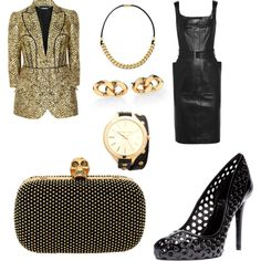 black & gold by ramona-damian on Polyvore featuring polyvore, fashion, style, Alexander McQueen and Michael Kors