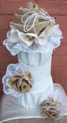 Wedding Bride Country Burlap Cake Topper by BlissfulBashfulBride, $59.99