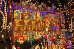 Festive Christmas lights adorn a detached house in a suburban street December in Melksham, England. Welcome To Christmas, Christmas Uk, Beautiful Christmas, Xmas, Christmas Light Displays, Holiday Lights, Christmas Lights, Outdoor Christmas Decorations, Halloween Decorations