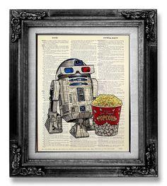 R2D2 Retro STAR WARS Poster Art, Nerd Art, Nerd Poster, Old School Movie Geekery Poster Print on Dictionary Paper - 3D Glasses Robot Popcorn by GoGoBookart on Etsy https://www.etsy.com/listing/161075647/r2d2-retro-star-wars-poster-art-nerd-art