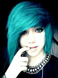 Cute Blue emo hairstyle