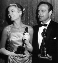 "Best Actress and Best Actor Grace Kelly and Marlon Brando pose together after the 1955 Academy Awards. Kelly won for ""The Country Girl,"" Brando for ""On the Waterfront."" ""On the Waterfront"" also took Best Picture that year. Vintage Hollywood, Hollywood Glamour, Hollywood Stars, Classic Hollywood, Hollywood Icons, Hollywood Images, Academy Award Winners, Oscar Winners, Academy Awards"
