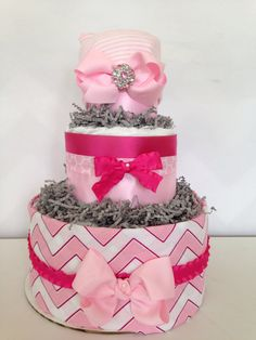 Her First Bling Bow Diaper Cake, Pink and Gray Baby Diaper Cakes on Etsy, $65.00