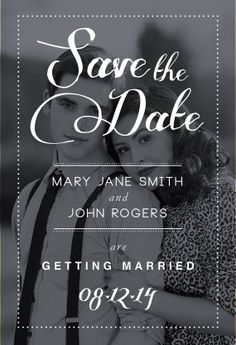 Bridal Save the Date Black  White by madeforLOVEstudio on Etsy, $16.00
