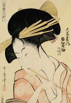 Utamaro, A Half-Length Portrait of the Courtesan Shirotama of the Tamaya, ca. 1790s Japan