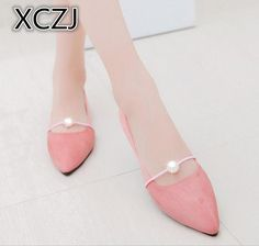 3086598000 2018 spring and summer new pointed flat with pearl single shoes female wild  flat shoes student