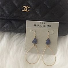 "Alexis Bittar Earrings Yellow gold sculptured oval hoops with navy faceted stone. Fish hook backs. Approx. drop is 2-1/4"". Never worn. Alexis Bittar Jewelry Earrings"