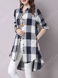 High Low Hem Plaid Button Down Shirt High Low Hem Kariertes Hemd mit Knopfleiste Kurti Designs Party Wear, Kurta Designs, Blouse Designs, Checkered Shirt Outfit, Hijab Fashion, Fashion Dresses, Fashion Muslimah, Blouse Outfit, Shirt Dress