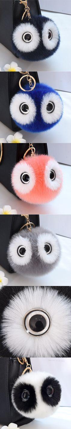 Cute Faux Rabbit Fur Ball Pompom Keychain Women Fluffy Pompon Owl Key Chain Holder Pom Pom Toy Doll Keyring Bag Charms Trinket