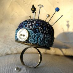 Tiny pin cushion ring from recycled materials by Wychbury