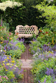 lavender path with brick