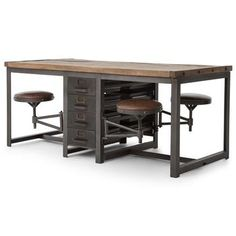 Wilkes Industrial Loft Reclaimed Pine Iron 4 Swivel Stools Desk Dining Table   Kathy Kuo Home