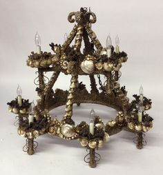 Twelve-Light Shell Encrusted Chandelier   July 2, 2016 Auction at Rafael Osona Auctions Nantucket, MA