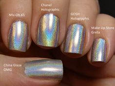 nail polish - different brands same look.Holographic nail polish - different brands same look. Holo Nail Polish, Nail Polish Dupes, Holographic Nail Polish, Nail Polish Colors, Nail Polishes, Love Nails, How To Do Nails, Fun Nails, Pretty Nails