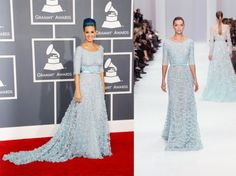 Katy Perry walked the red carpet at the Grammy Awards 2012 in a sky blue embellished applique gown by Elie Saab from hisSpring couture collection.    See more of this collection at http://weddinginspirasi.com/2012/01/27/elie-saab-spring-2012-couture/