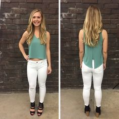 We love the fit of this seafoam colored, slightly cropped tank! - $35 #springfashion #spring #fashionista #shoplocal #aldm #apricotlaneboutique #apricotlanedesmoines #shopaldm #desmoines #valleywestmall #fashion #apricotlane #newarrival #shopalb #ootd #westdesmoines #shopapricotlaneboutiquedesmoines #ontrend