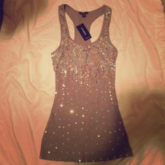 Express tank Brand new gray express tank with sequins on the back and front. Express Tops Tank Tops