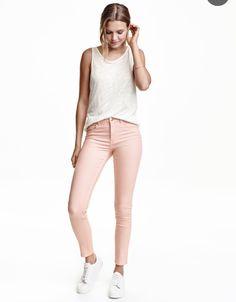 96dccf68e37 H&M H&m Fashion, Fashion Online, Slim Fit Pants, Khaki Pants, White Jeans