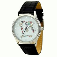 World Map Watch Colorful 2 by SandMwatch on Etsy
