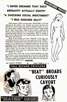 Vintage Sleaze: Beatnik Bile from Beelzebub Books 1959 BEATNIK the Beat Generation Shocking Shuddering Sensational and Unexpurgated! Heater Wall and Walter Hale