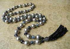 Gorgeous hand knotted pearl tassle necklace. #Blacktieaffair