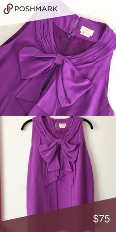 Kate Spade Keyhole Bow Top 100% silk Kate Spade pleated top with bow and keyhole. Dry clean only. Some discoloration on underarms but otherwise looks great! kate spade Tops Blouses