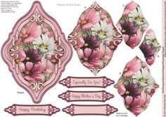 Pink Bouquet Diamond Shaped Pyramage Topper on Craftsuprint designed by Sandie Burchell - Beautiful Shaped Pyramage Topper with 4 Layers of Pyramage and choice of sentiment panels which includes: Happy Birthday, Especially For You! Happy Mother's Day or Blank for your own message. To search for more in this style click on my name and enter diamond pyramage topper in my search box. Please take a look at my other designs by clicking on my name. - Now available for download!